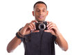 Portrait of a young african man taking a picture Royalty Free Stock Photo