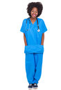 Portrait young african nurse full length portrait isolated white background Royalty Free Stock Photography