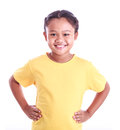 Portrait of young Asian girl with arms akimbo isolated on white Royalty Free Stock Photo