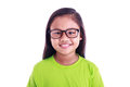 Portrait of young Asian girl wear glasses isolated on white Royalty Free Stock Photo