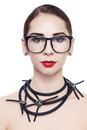 Portrait young attractive woman hipster glasses fancy necklace white background Stock Image