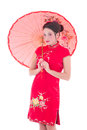 Portrait of young attractive woman in red japanese dress with um umbrella isolated on white background Royalty Free Stock Photos