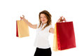 Portrait young attractive woman shopping bags isolated white background Stock Photos