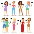 Portrait young attractive woman taking selfie photo on smartphone hipster beauty cartoon girls photograph characters