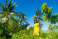 Portrait of young beautiful asian girl in tropical forest area near the beach hulhumale maldives Stock Image