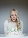 Portrait of a young beautiful blonde girl on birthday Royalty Free Stock Photo