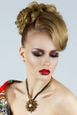 Portrait of young beautiful blonde woman with red lips Stock Photography