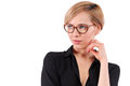 Portrait of a young beautiful blonde woman wearing trendy glasses Royalty Free Stock Photo