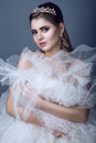 Portrait of young beautiful bride in diadem and earrings with naked shoulders pressing skirt of her wedding dress to her breast Royalty Free Stock Photo