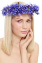 Portrait young beautiful fresh girl blue flowers over white background Stock Photo