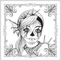 Portrait of a young beautiful girl in Halloween or Day of the Dead Royalty Free Stock Photo