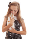 Portrait of the young beautiful girl with a kitten Imágenes de archivo libres de regalías