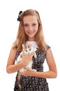 Portrait of the young beautiful girl with a kitten Foto de archivo libre de regalías