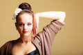 Portrait young beautiful  girl retro style make-up and hair bun Stock Photo