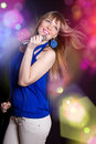 Portrait of young beautiful girl singing Stock Photography