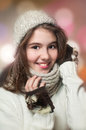 Portrait of young beautiful girl in winter style Royalty Free Stock Photo