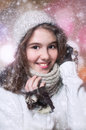 Portrait of young beautiful girl in winter style Stock Photography