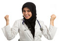 Portrait of young beautiful muslim female doctor celebrating success Royalty Free Stock Photo
