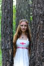 Portrait of a young beautiful Slavic girl with long hair and Slavic ethnic dress in a summer forest Royalty Free Stock Photo