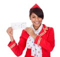 Portrait of young beautiful stewardess Royalty Free Stock Photography