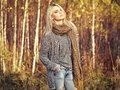 Portrait of young Beautiful Woman in Autumn Pullover Royalty Free Stock Photo
