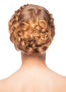 Portrait of young beautiful woman with blond hair and braid hairdo rear view isolated on white background Stock Photography