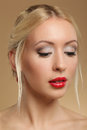 Portrait of young beautiful woman caucasian with red lips isolat Royalty Free Stock Photos