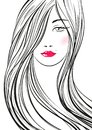 Portrait of young beautiful woman with long hair. Hand drawn girl with red lips. Vector digital drawing.