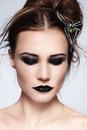 Portrait young beautiful woman messy hairdo black lipstick Stock Photo