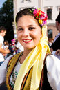 Portrait of a young beautiful woman in traditional costume lugoj romania august unknown dancer national at the parade popular Royalty Free Stock Photo