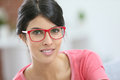 Portrait of young beautiful woman wearing eyeglasses Royalty Free Stock Photo