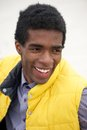 Portrait of a young black man with happy expression on face close up Royalty Free Stock Image