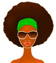 Portrait of a young black woman on white, model of fashion, illustration Royalty Free Stock Photo