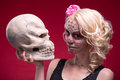 Portrait of young blond girl with Calaveras makeup Royalty Free Stock Photo