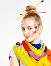 Portrait of a young blond woman with creativity hairstyle with c colored buttons and fashion make up Stock Photography