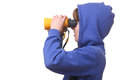 Portrait young boy binoculars white background Stock Photo