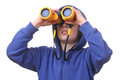 Portrait young boy binoculars white background Stock Image