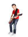 Portrait of young boy with a electric guitar Stock Photo
