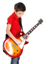 Portrait of young boy with a electric guitar Stock Photography