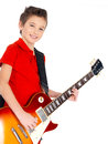 Portrait of young boy with a electric guitar Royalty Free Stock Photo