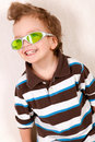 Portrait of  young boy in green glasses Royalty Free Stock Photos