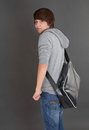 Portrait of young boy with his bag in puberty Royalty Free Stock Images