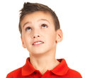 Portrait of young boy looking up Stock Images