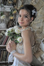 Portrait of a young bride in retro style Royalty Free Stock Photo