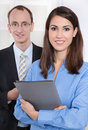 Portrait of young business partners teamwork successful businesspeople Stock Photos