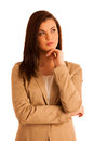 Portrait of young business woman in brown jacket isolated over w white looking concerned Stock Photos