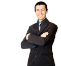 Portrait of a young businessman smiling isolated on white background Stock Photos