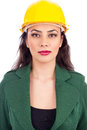 Portrait of young businesswoman with hard hat Royalty Free Stock Photo