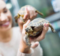 Portrait of young cheerful woman holding turtles