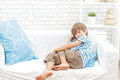 Portrait of young child boy at home Royalty Free Stock Photo
